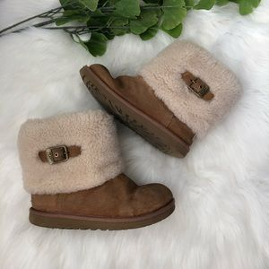UGG Suede & Sheepskin Ankle Boots Size 4 Buckles